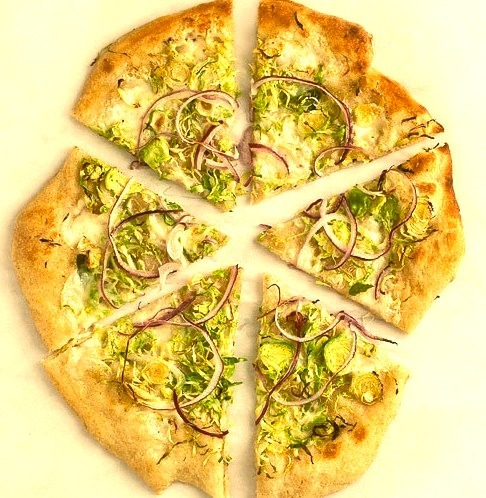 Brussels Sprouts & Red Onion Pizza.