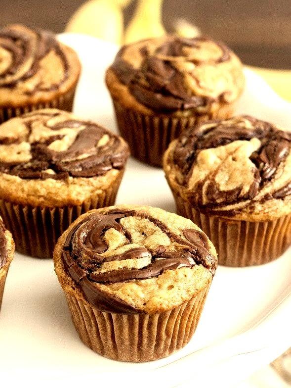 Whole Wheat Peanut Butter and Banana Nutella Swirl Muffins Recipe (x)