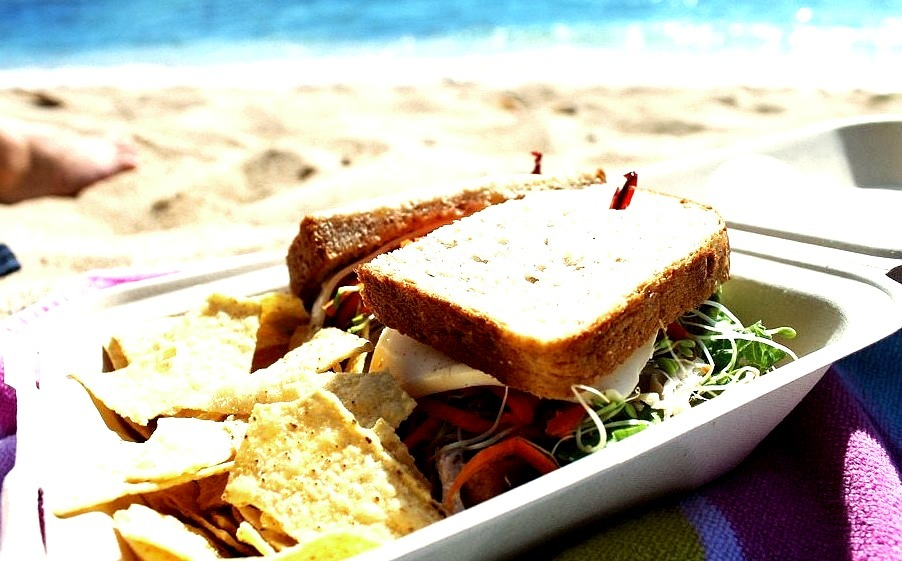 Sandwich and Chips on the Beach
