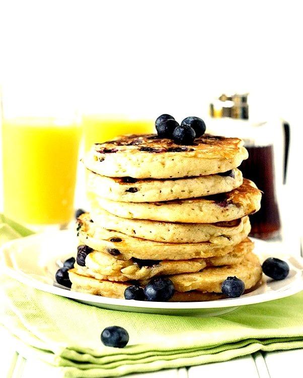 Blueberry & Peach Yogurt Buttermilk Pancakes
