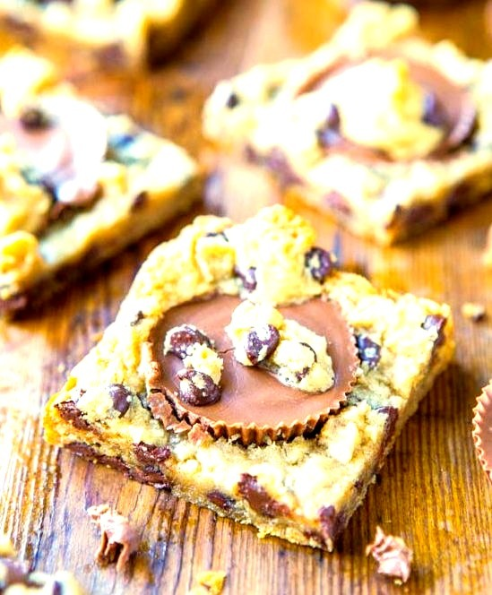 Two Ingredient Peanut Butter Cup Chocolate Chip Cookie Dough Bars