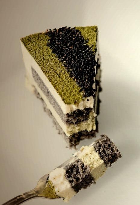 Matcha-Goma Mousse Cake (Green Tea-Black Sesame Mousse Cake){Hungry Rabbit NYC}
