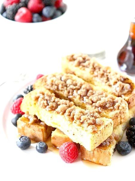 Cinnamon Streusel Baked French Toast Sticks