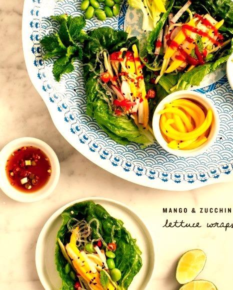 (via mango & zucchini lettuce wraps Love and Lemons)