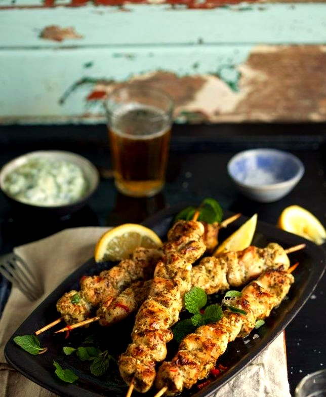 Grilled chicken kebabs with lemon, chili and mint and homemade tzatziki