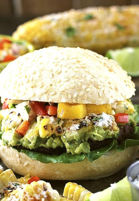 Guacamole Burgers with Corn, Mango & Red Pepper Salsa