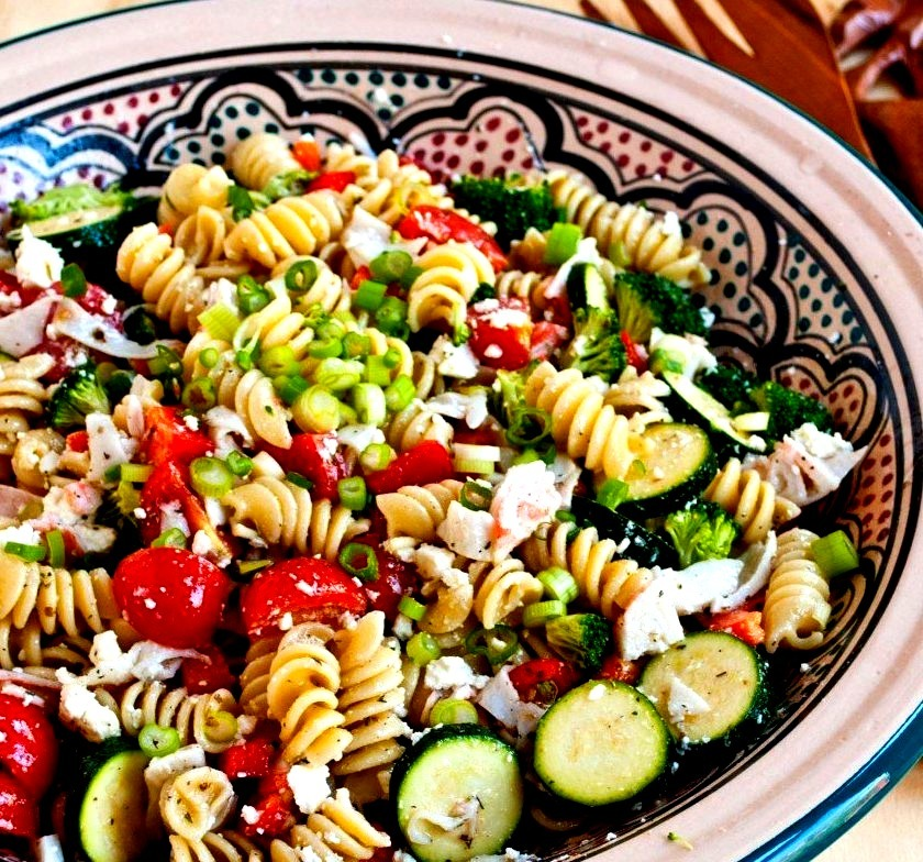 Greek Crab Pasta Salad
