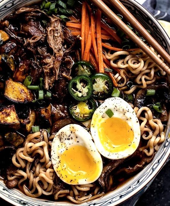 Pork Ramen Noodle Soup with Curry Roasted Acorn Squash