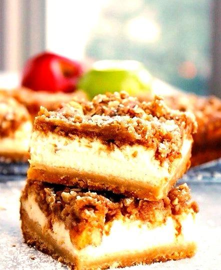Apple Crisp Cheesecake Bars Buttercream Blondie