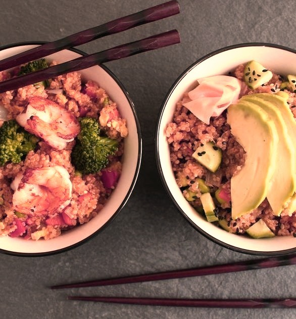 Two takes on quinoa Shrimp Fried and Sushi Bowl