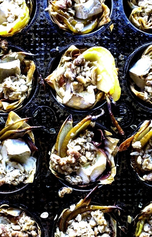 Crispy Prosciutto Baked Brie Bites with Honey Pears + Walnuts